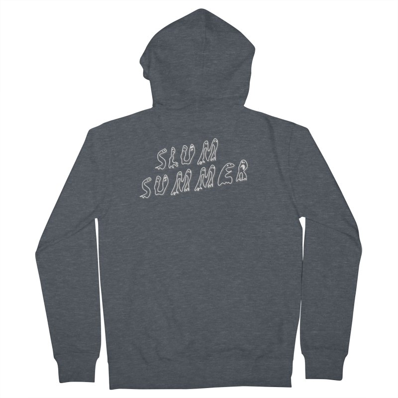 Stacked White Text w/Shadow Women's French Terry Zip-Up Hoody by Slum Summer Merchandise