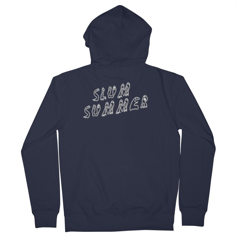 Stacked White Text w/Shadow Men's French Terry Zip-Up Hoody by Slum Summer Merchandise
