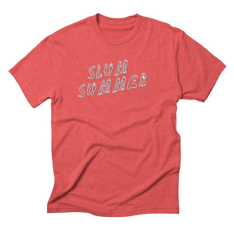 Stacked White Text w/Shadow Men's Triblend T-Shirt by Slum Summer Merchandise