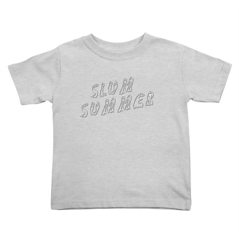 Stacked White Text w/Shadow Kids Toddler T-Shirt by Slum Summer Merchandise