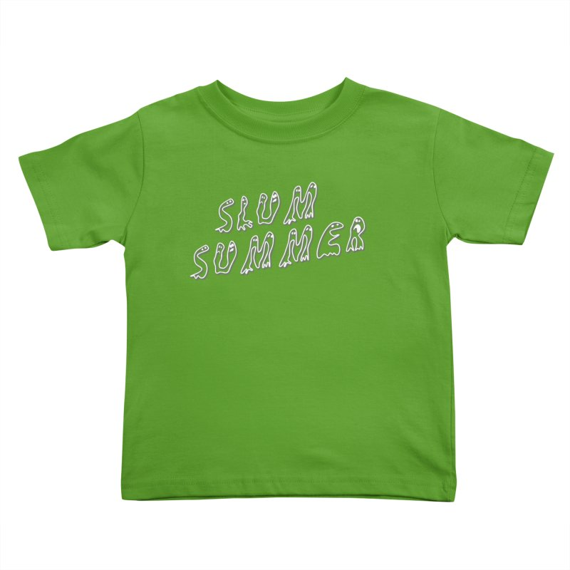 Stacked White Text w/Shadow Kids Toddler T-Shirt by Slum Summer Merchandise