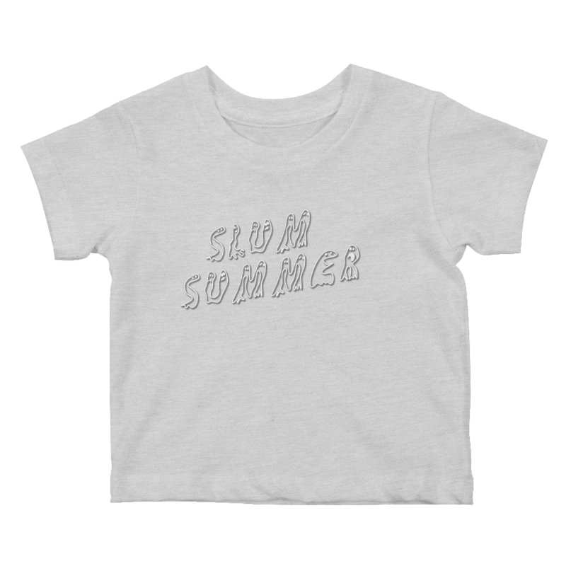 Stacked White Text w/Shadow Kids Baby T-Shirt by Slum Summer Merchandise