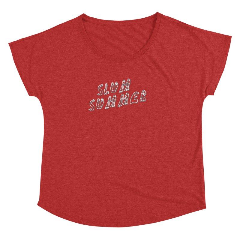 Stacked White Text w/Shadow Women's Dolman Scoop Neck by Slum Summer Merchandise