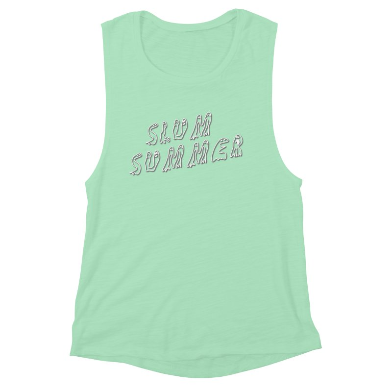 Stacked White Text w/Shadow Women's Muscle Tank by Slum Summer Merchandise