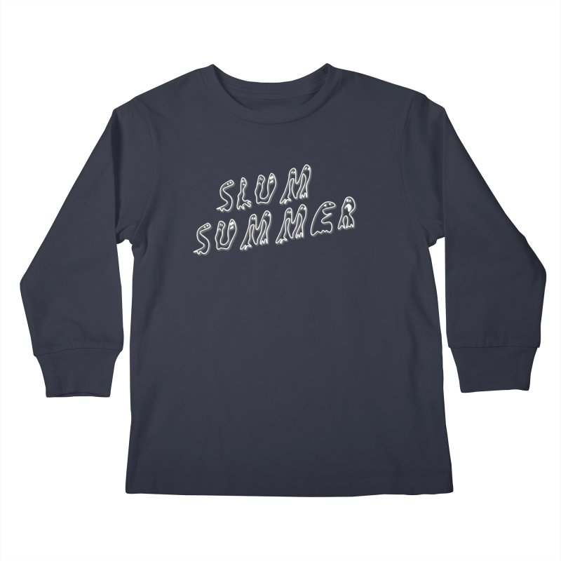 Stacked White Text w/Shadow Kids Longsleeve T-Shirt by Slum Summer Merchandise