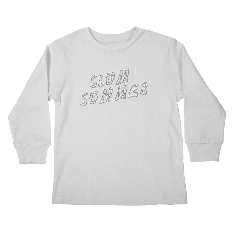 Stacked White Text w/Shadow Kids Longsleeve T-Shirt by Slum Summer Merchandise