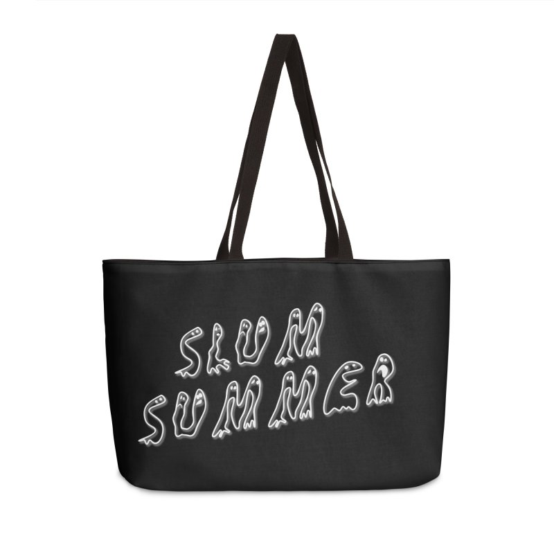 Stacked White Text w/Shadow Accessories Weekender Bag Bag by Slum Summer Merchandise
