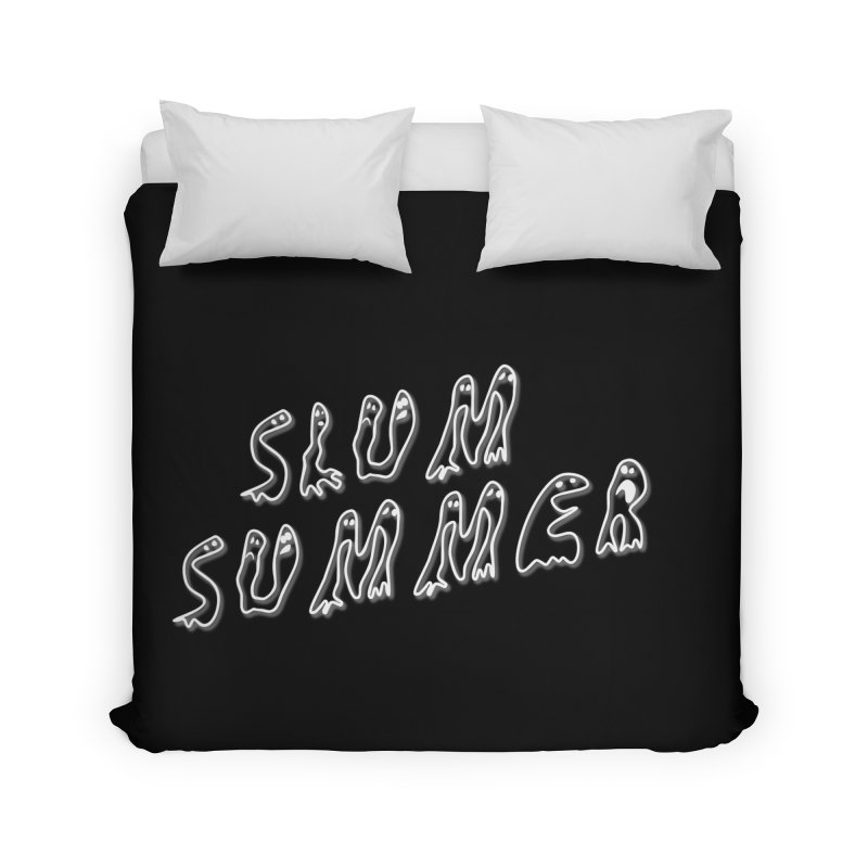 Stacked White Text w/Shadow Home Duvet by Slum Summer Merchandise