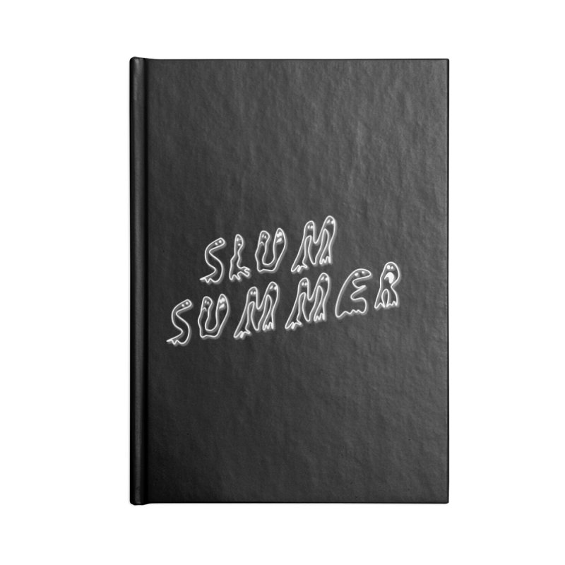 Stacked White Text w/Shadow Accessories Lined Journal Notebook by Slum Summer Merchandise