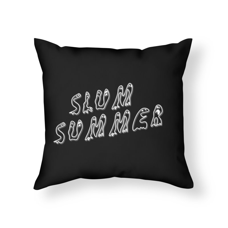 Stacked White Text w/Shadow Home Throw Pillow by Slum Summer Merchandise