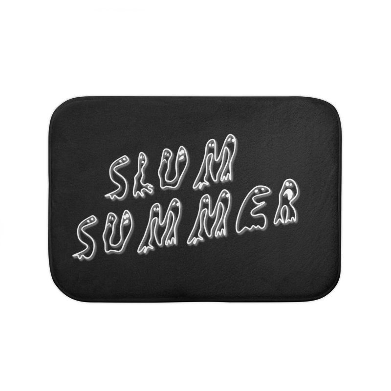 Stacked White Text w/Shadow Home Bath Mat by Slum Summer Merchandise