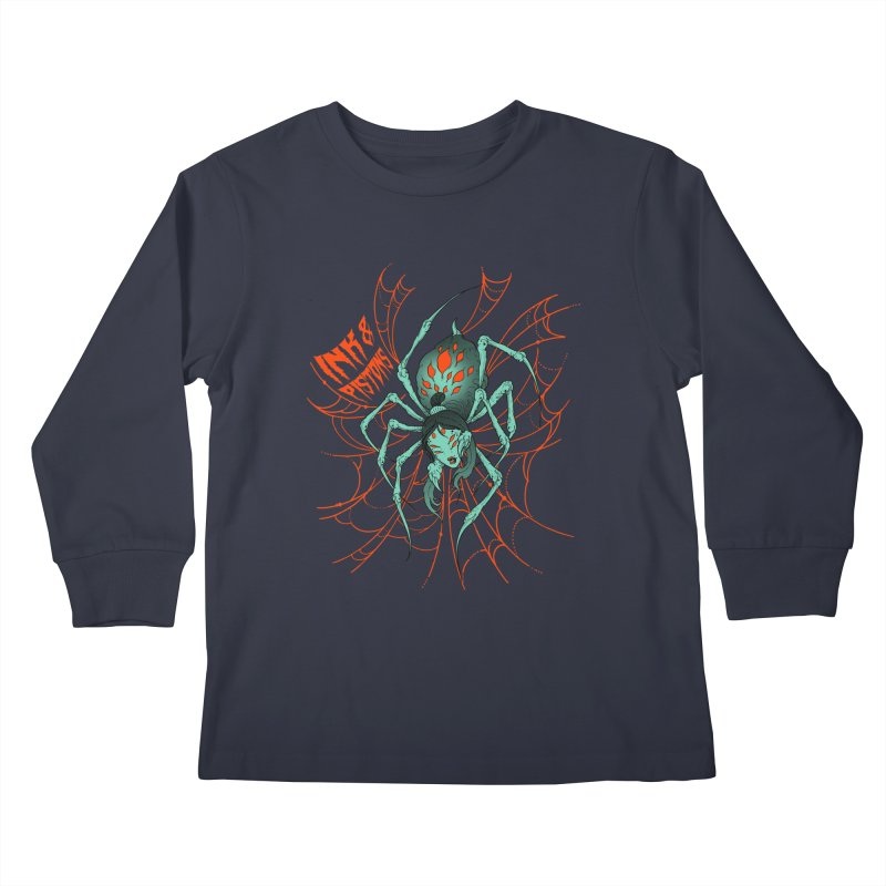 Ink and Pistons - Jorogumo Spider Kids Longsleeve T-Shirt by Ink and Pistons   SlushBox