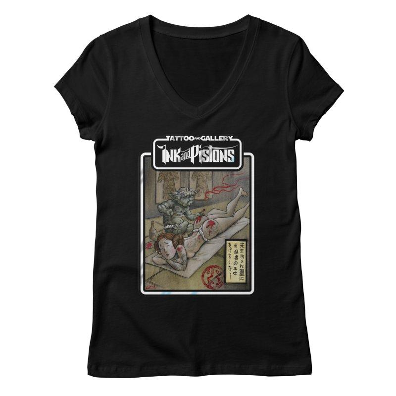 Ink and Pistons: Irezumi Wars Women's V-Neck by Ink and Pistons | SlushBox