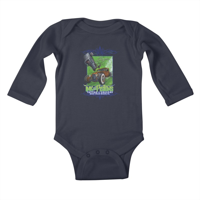 Ink and Pistons: Bottoms Up Kids Baby Longsleeve Bodysuit by Ink and Pistons   SlushBox