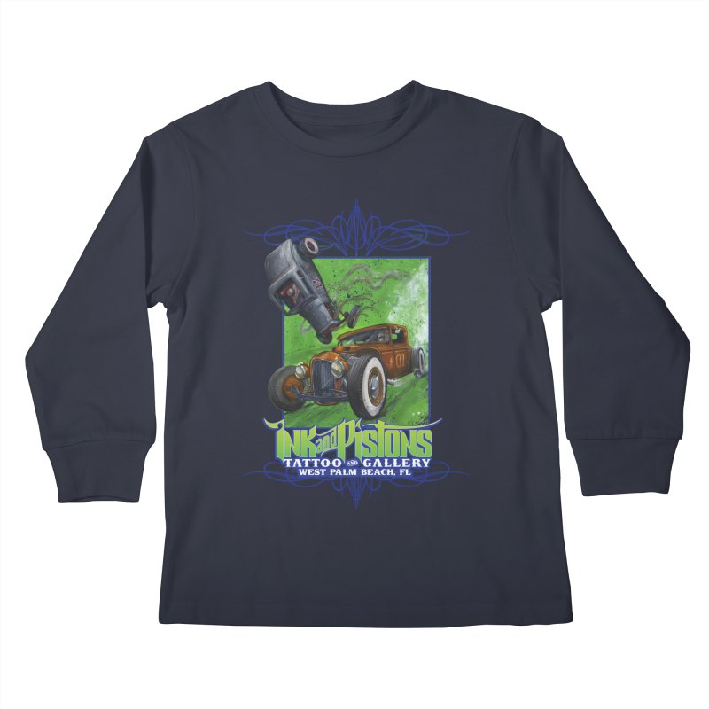 Ink and Pistons: Bottoms Up Kids Longsleeve T-Shirt by Ink and Pistons   SlushBox