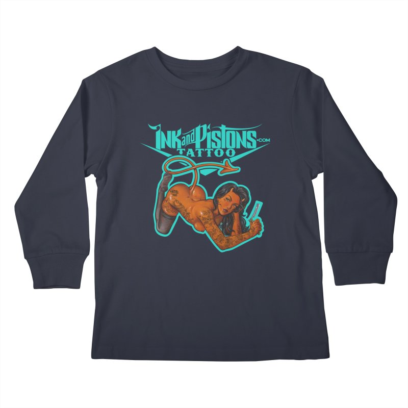 Ink and Pistons: The Devil Made Me Do It Kids Longsleeve T-Shirt by Ink and Pistons | SlushBox