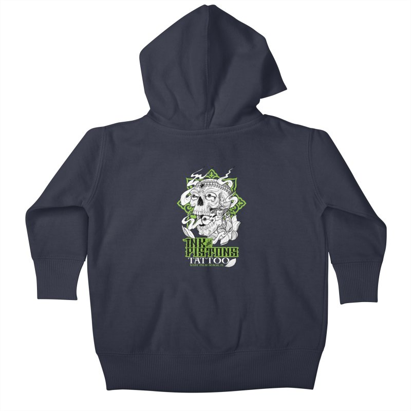 Ink and Pistons: Kapala Skull Kids Baby Zip-Up Hoody by Ink and Pistons | SlushBox