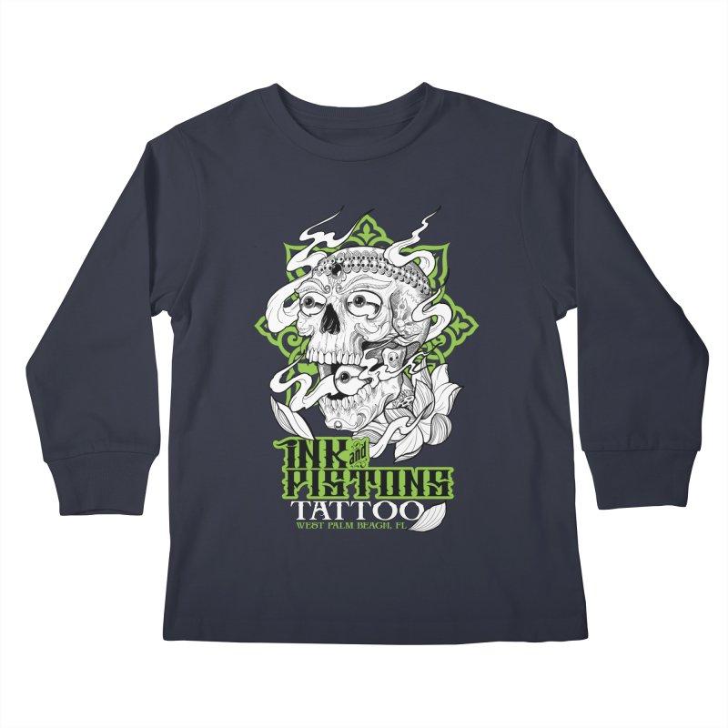 Ink and Pistons: Kapala Skull Kids Longsleeve T-Shirt by Ink and Pistons   SlushBox