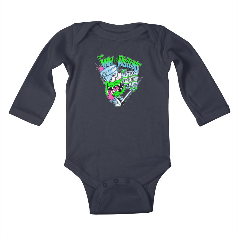 Ink and PIstons: Piston Fink! Kids Baby Longsleeve Bodysuit by Ink and Pistons   SlushBox