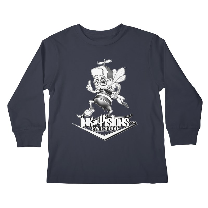 Ink and Pistons: @AdamBee Black and White Kids Longsleeve T-Shirt by Ink and Pistons | SlushBox