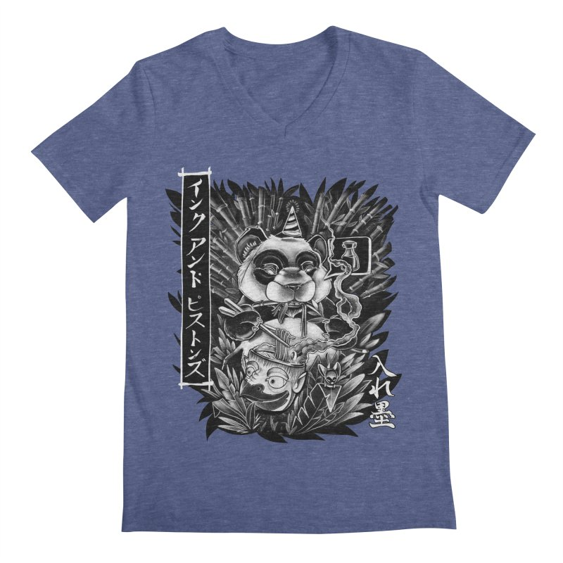 Ink and Pistons: Panda Ramen Men's V-Neck by Ink and Pistons | SlushBox