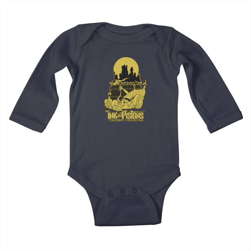 Ink and Pistons: @skud_007 Graveyard Dragster Kids Baby Longsleeve Bodysuit by Ink and Pistons | SlushBox