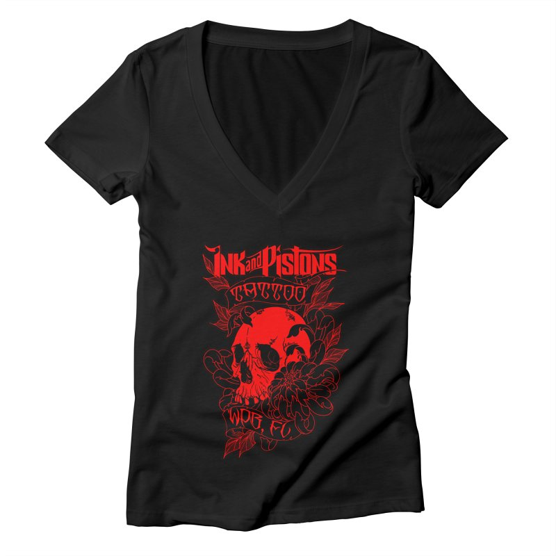 Ink and Pistons: Skull Mum Women's V-Neck by Ink and Pistons | SlushBox