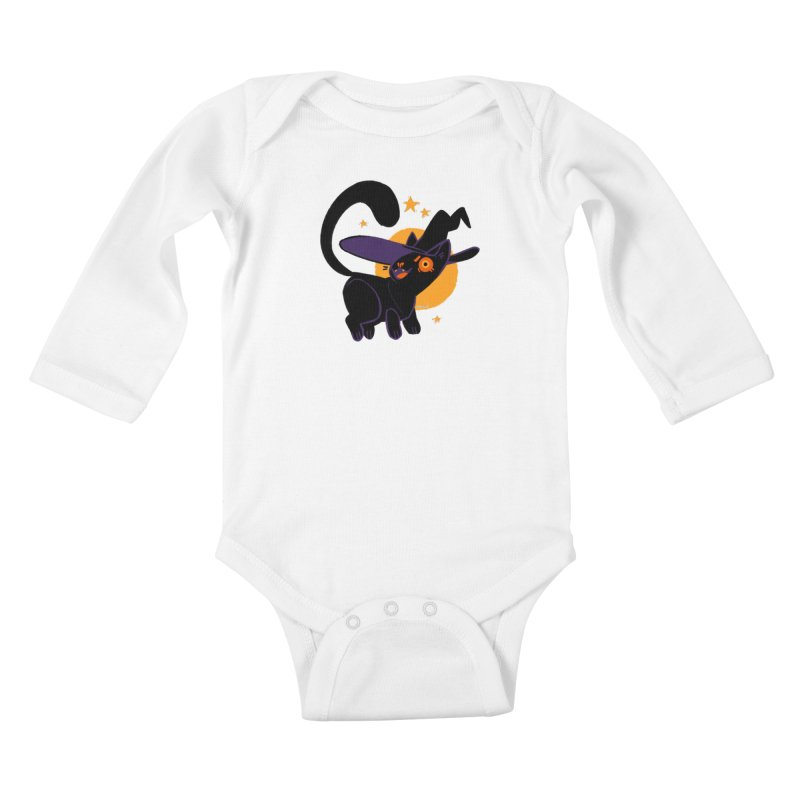 Whiskered Witch of the West Kids Baby Longsleeve Bodysuit by Kyle Smeallie's Design Store