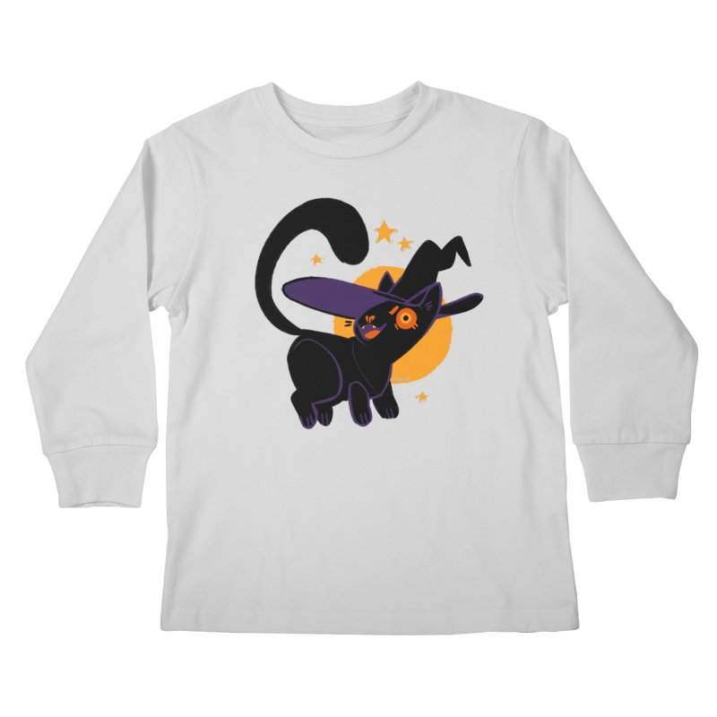 Whiskered Witch of the West Kids Longsleeve T-Shirt by Kyle Smeallie's Design Store