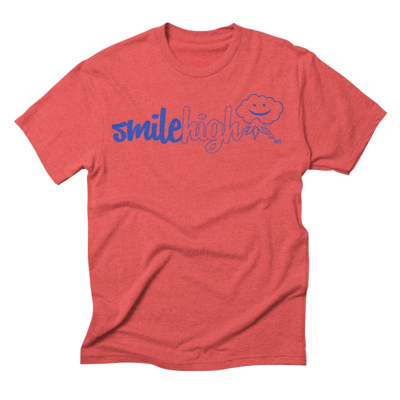 Smile High Classic Blue Line Design in Men's Triblend T-Shirt Chili Red by Join The Circle at SmileHigh.com