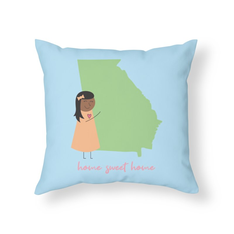 Georgia Hug Home Throw Pillow by {mostly} Smiling Sticks