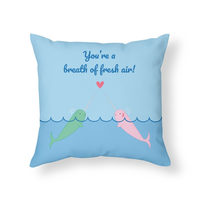 Narwhal Home Throw Pillow by {mostly} Smiling Sticks
