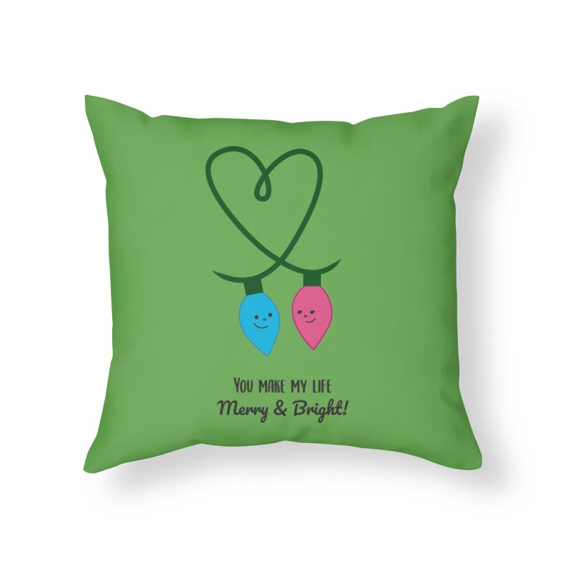 Christmas Lights Home Throw Pillow by {mostly} Smiling Sticks