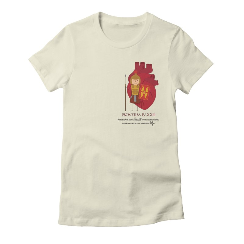 Guard Your Heart in Women's Fitted T-Shirt Natural by {mostly} Smiling Sticks