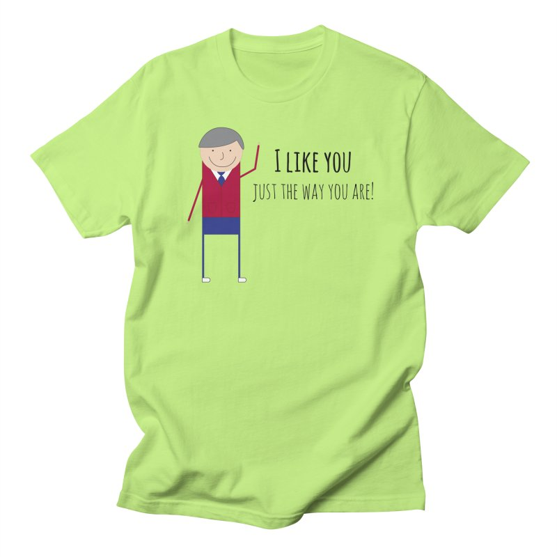 Mr. Rogers in Men's Regular T-Shirt Neon Green by {mostly} Smiling Sticks