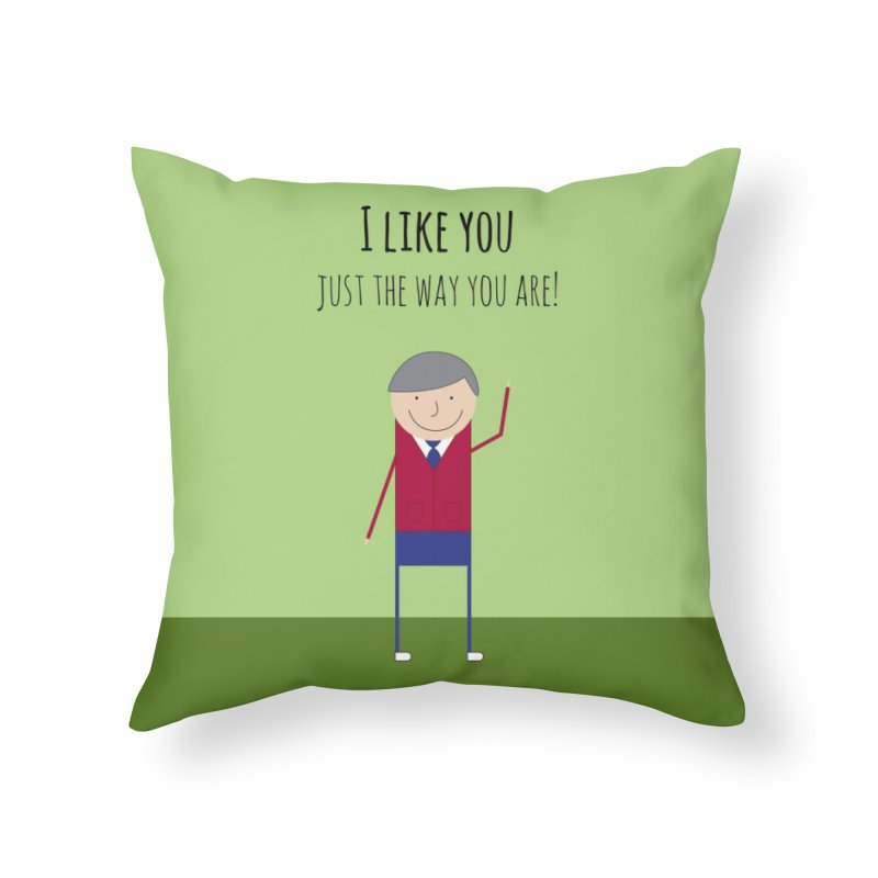 Mr. Rogers Home Throw Pillow by {mostly} Smiling Sticks