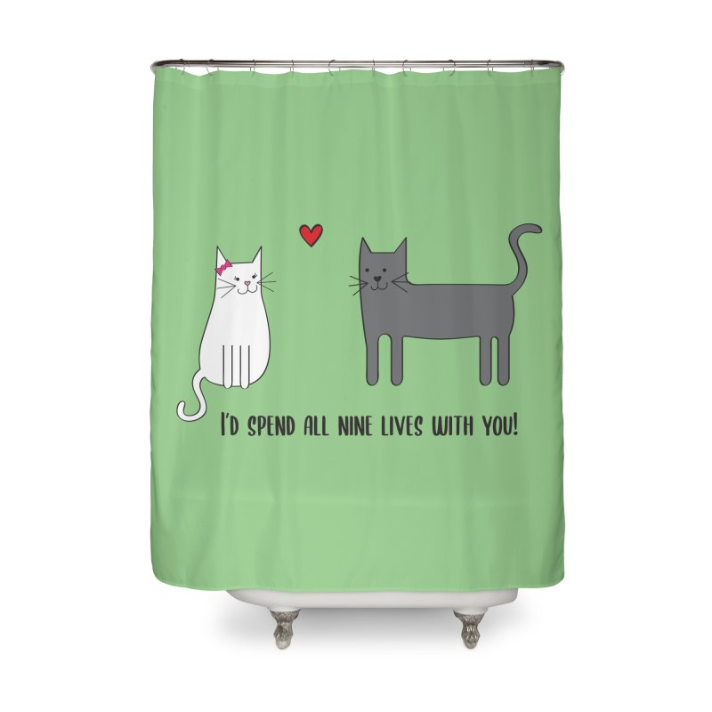 Nine Lives Home Shower Curtain by {mostly} Smiling Sticks