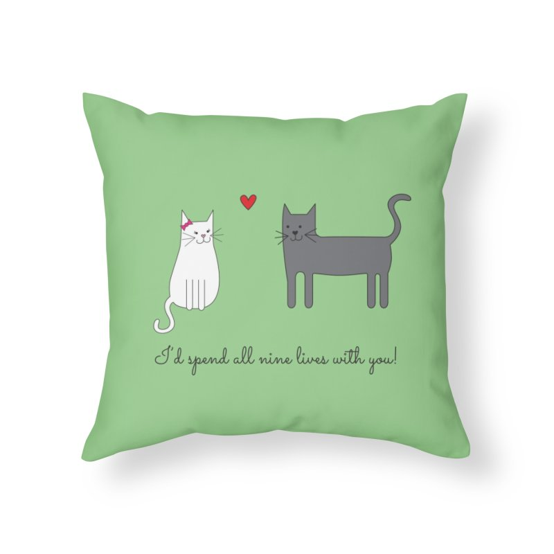 Nine Lives in Throw Pillow by {mostly} Smiling Sticks