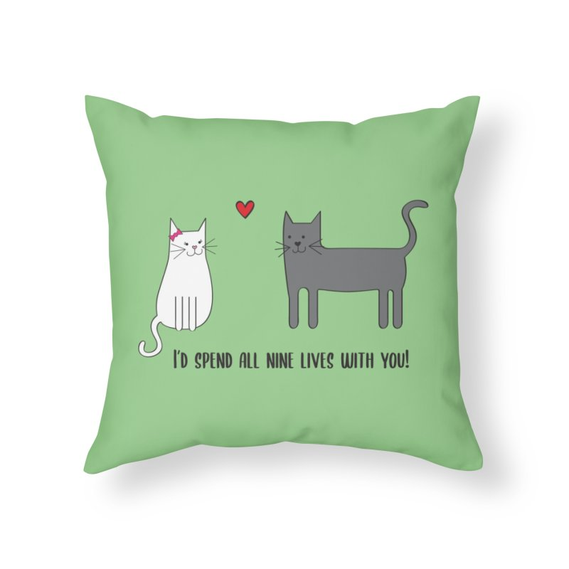 Nine Lives Home Throw Pillow by {mostly} Smiling Sticks