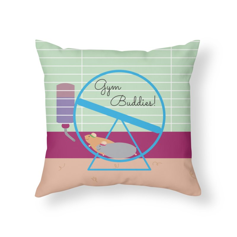 Gym Buddies Home Throw Pillow by {mostly} Smiling Sticks