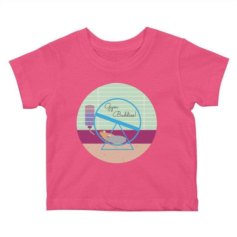Gym Buddies Kids Baby T-Shirt by {mostly} Smiling Sticks