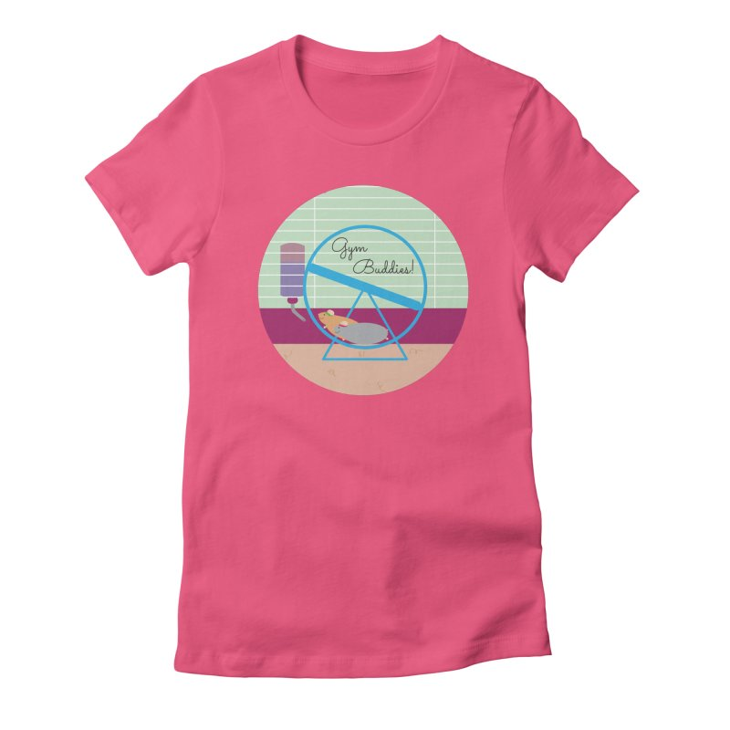 Gym Buddies Women's Fitted T-Shirt by {mostly} Smiling Sticks