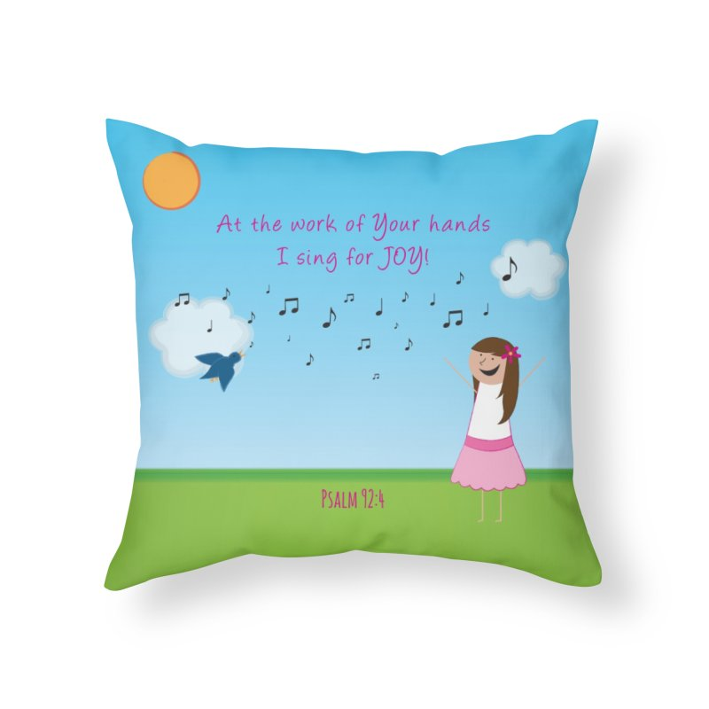 Joy! Home Throw Pillow by {mostly} Smiling Sticks