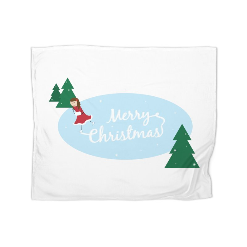 Christmas Ice Skater Home Fleece Blanket Blanket by {mostly} Smiling Sticks