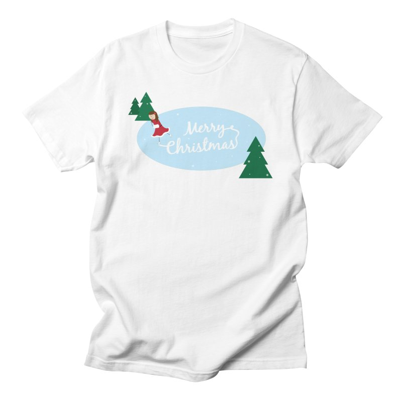 Christmas Ice Skater Men's T-Shirt by {mostly} Smiling Sticks