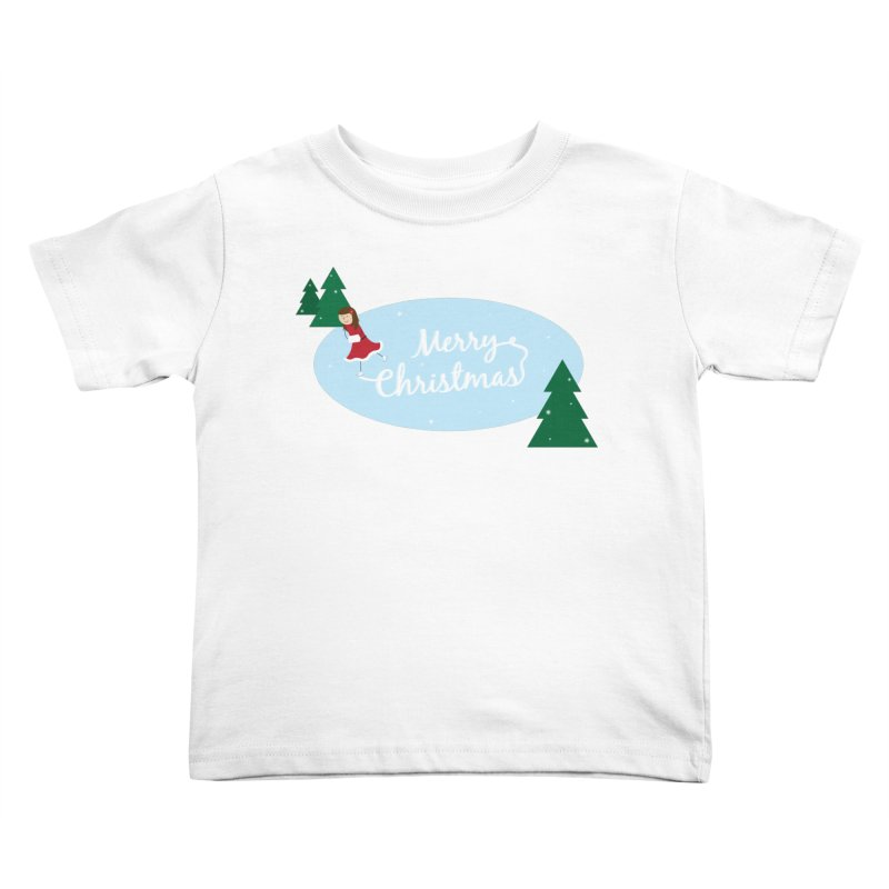 Christmas Ice Skater Kids Toddler T-Shirt by {mostly} Smiling Sticks