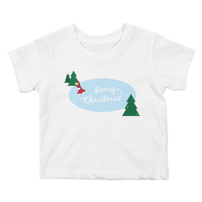 Christmas Ice Skater Kids Baby T-Shirt by {mostly} Smiling Sticks