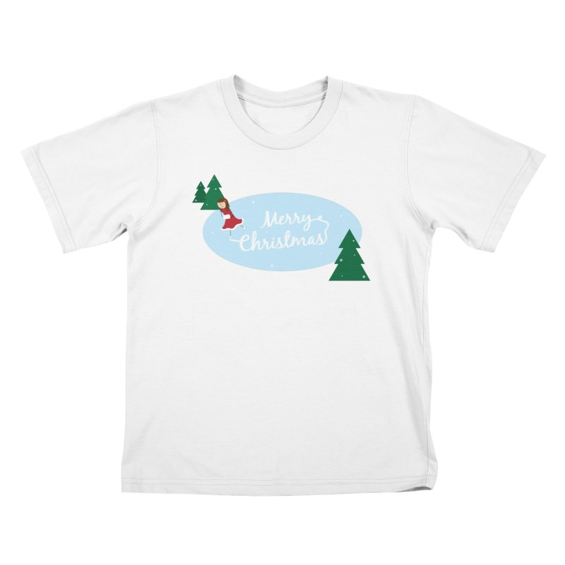 Christmas Ice Skater Kids T-Shirt by {mostly} Smiling Sticks