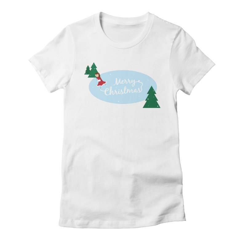 Christmas Ice Skater Women's T-Shirt by {mostly} Smiling Sticks