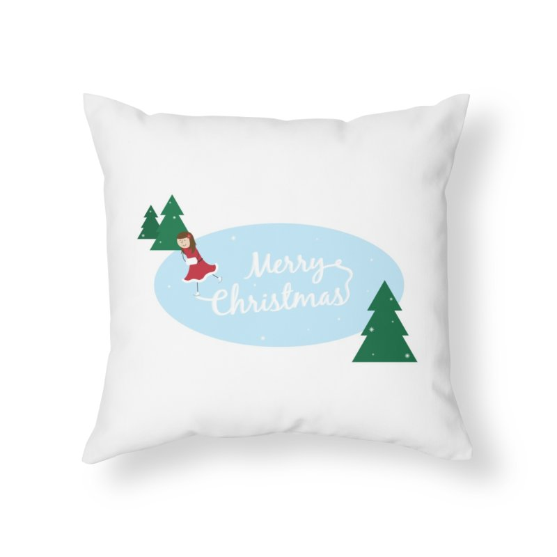 Christmas Ice Skater Home Throw Pillow by {mostly} Smiling Sticks